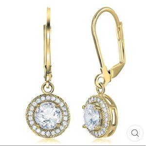 18K YELLOW GOLD PLATED ROUND CZ HALO DROP EARRINGS